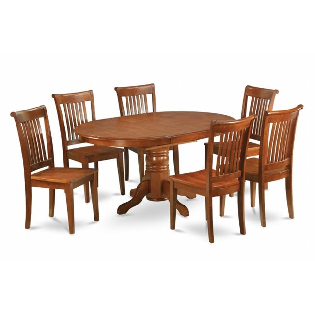 East West Furniture AVPO7-SBR-W 7PC Oval Dining Set with Single Pedestal with 18 inch leaf and 6 Wood seat chairs