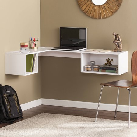 Southern Enterprises Flacx Wall Mount Corner Desk White