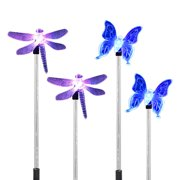 4 Pack LED Solar Garden Stake Light Color-Changing Butterfly, Dragonfly With Luminous Stake Outdoor Garden Decor Figurines Light Landscape Lighting for Path, Yard, Lawn, Patio
