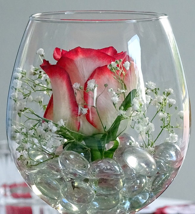 LAMINATED POSTER Deco Rose Red Rose Decorative Glass Wine Glass Poster Print 24 x 36