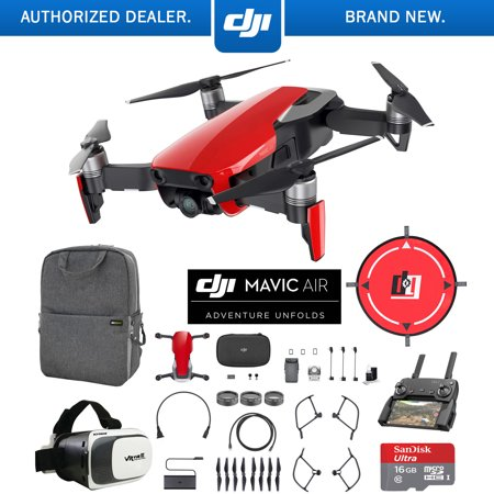 DJI Mavic Air (Flame Red) Drone Combo 4K Wi-Fi Quadcopter with Remote Controller Mobile Go Bundle with Backpack VR Goggles Landing Pad 16GB microSDHC Card and Filter