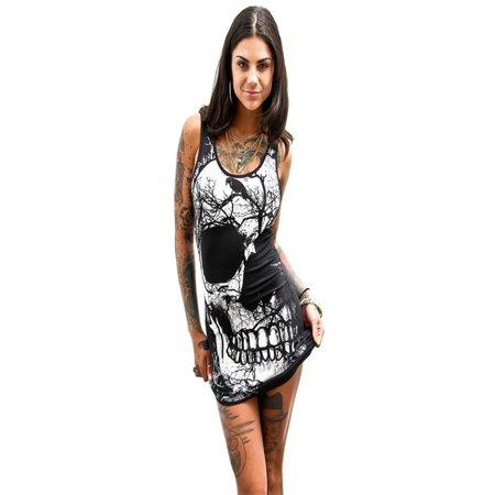 Women's European and American Sexy Sleeveless Skull Summer Vintage Vest Dress](Candy Skull Dress Up)