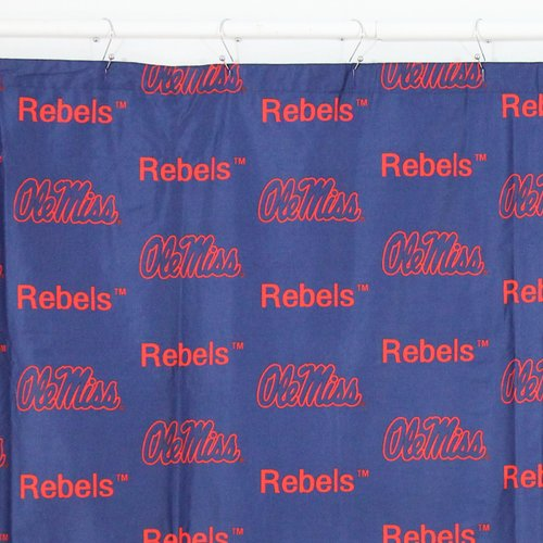 College Covers NCAA Ole Miss Printed Single Shower Curtain