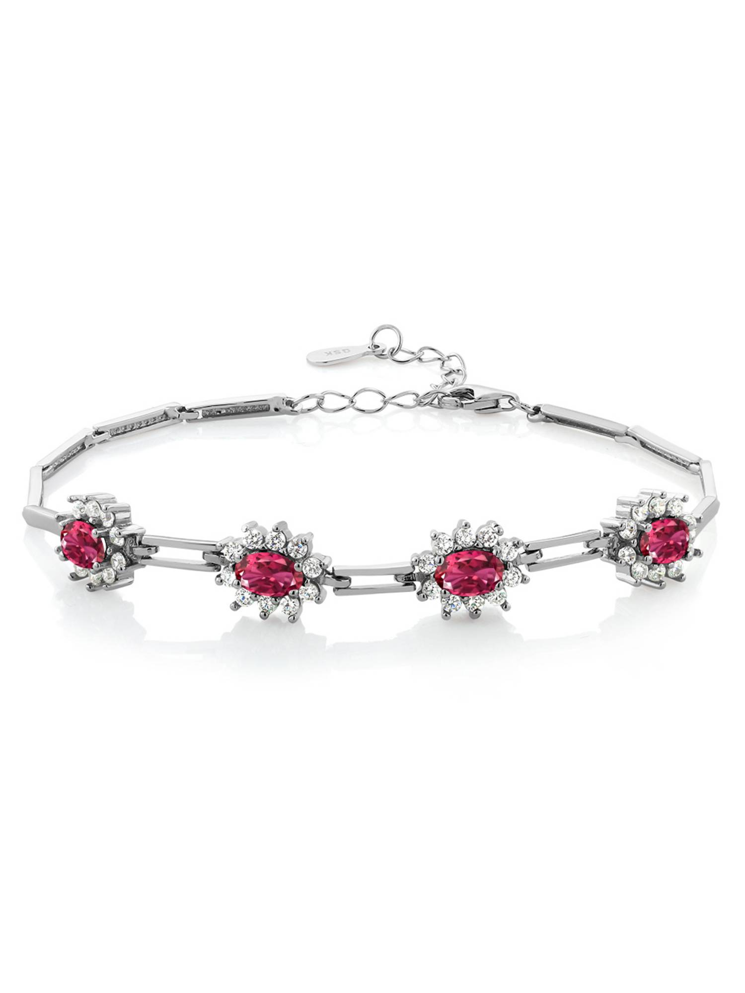 4.00 Ct Oval Pink Tourmaline 925 Sterling Silver Bracelet by