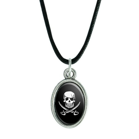 Pirate Skull Crossed Swords Tattoo Design Antiqued Oval Charm Pendant with Black Satin Cord