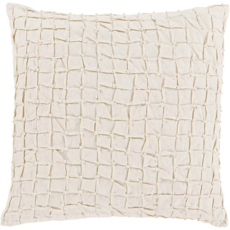 """Surya Diana Down Fill 20"""" Square Pillow in Ivory"""