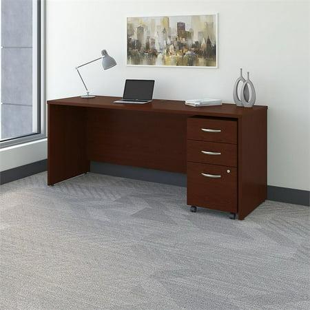 "Bush Business Series C 72"" Credenza Desk with Pedestal in Mahogany - image 5 de 7"