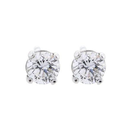 0.42 ct tw G VS2 Natural Round Diamond Stud Earring 14K White Gold Screw (0.42 Ct Round Diamond)