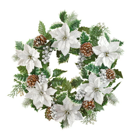 White Poinsettias with Pinecones & Silver Holly Winter Wreath - Seasonal Home Decoration for Indoor/Outdoor, Silver - Glittered Poinsettia Wreath