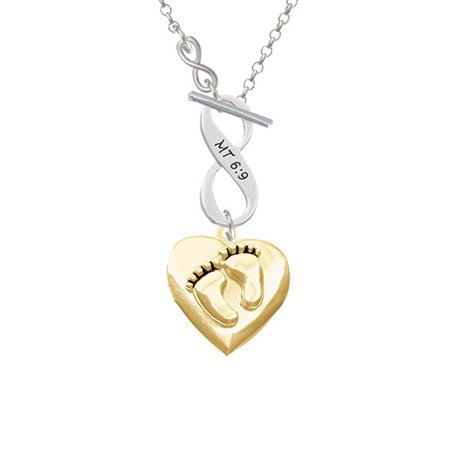 Gold Tone Baby Feet Heart Locket - To Infinity Matthew 6:9 Toggle - Locket Toggle