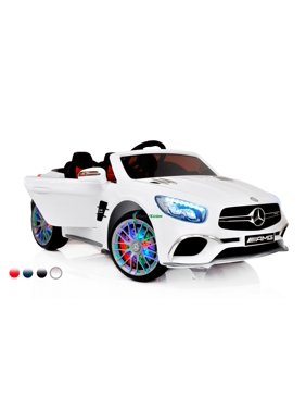 New 12V Mercedes AMG SL65 Ride on power electric ONE SEATER car For ONE Kid with MP4 Touch Screen, Remote Control, Leather Seat, LED lights, Color - White