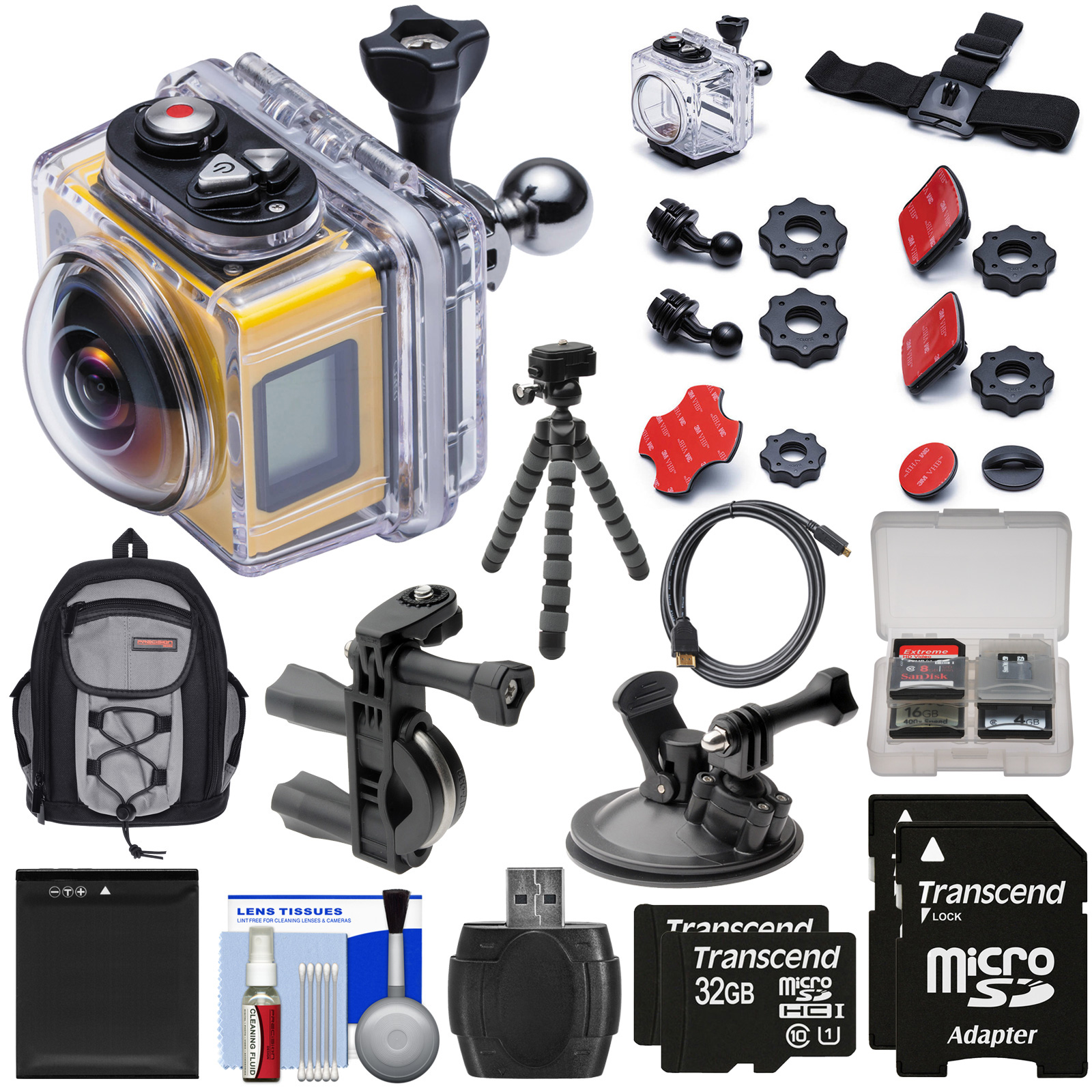 Kodak PixPro SP360 Wi-Fi HD Video Action Camera Camcorder - Aqua Sport Pack + Bike & Suction Cup Mounts + 64GBs + Battery + Backpack + Tripod Kit PixPro SP360