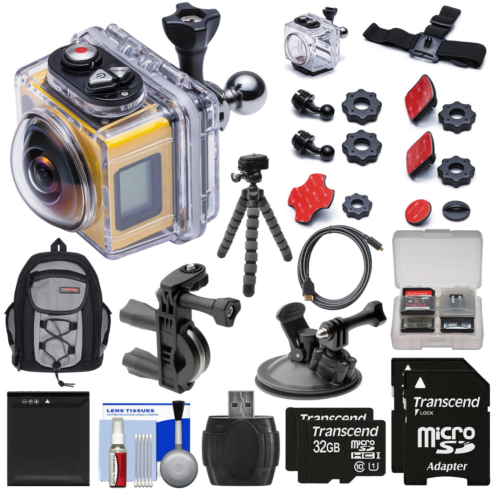 Kodak PixPro SP360 Wi-Fi HD Video Action Camera Camcorder - Aqua Sport Pack + Bike & Suction Cup Mounts + 64GBs + Battery + Backpack + Tripod Kit