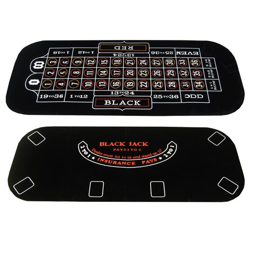 JP Commerce 3 in 1 Poker Blackjack and Roulette Folding Table Top with Cup Holders
