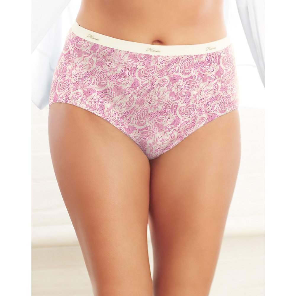Just My Size Womens 5-Pack Cotton Lace Effects Hi-Cut ...