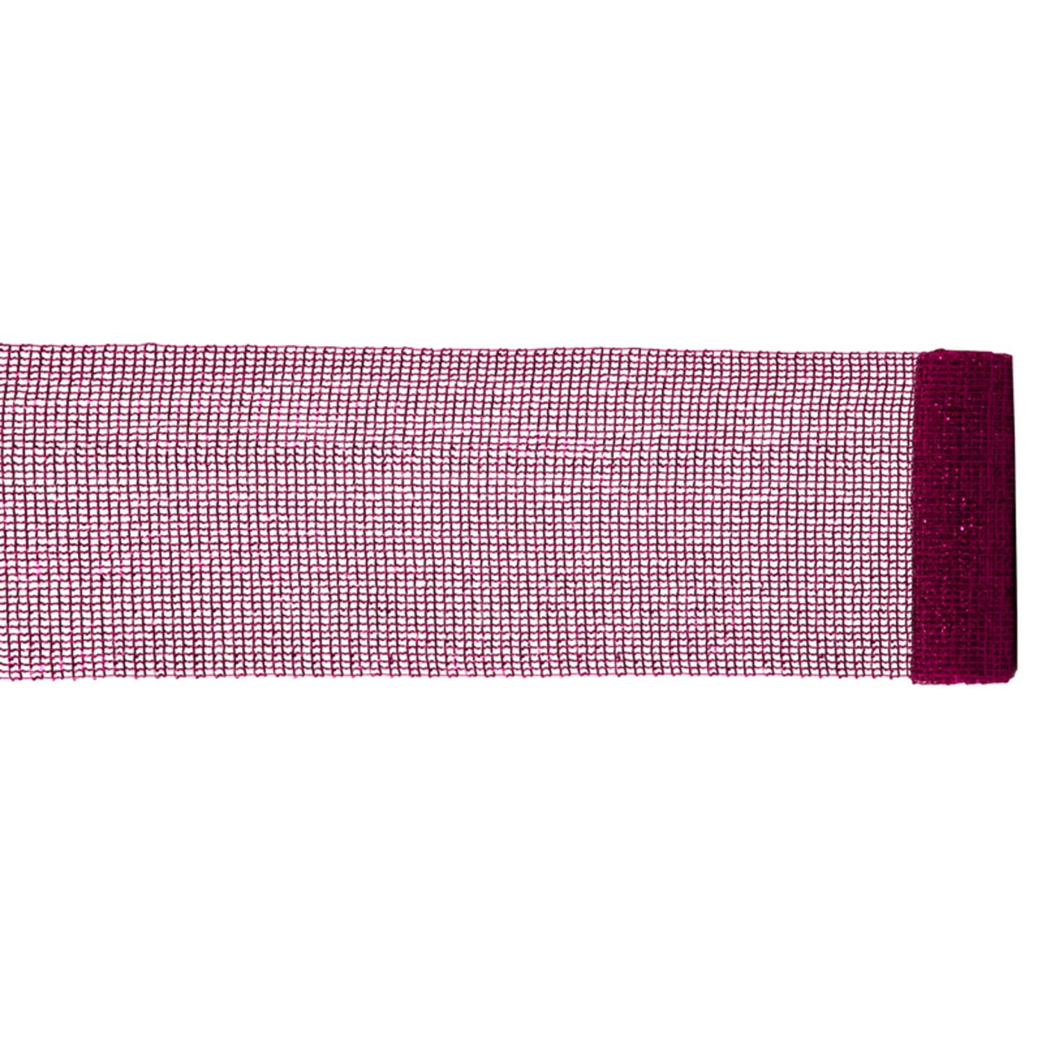 """Extra Wide Mesh Magenta Pink Sparkle Tinsel Christmas Ribbon 6"""" x 4 Yards"""