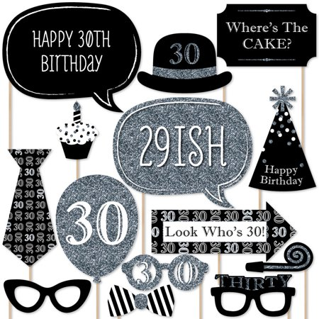 Adult 30th Birthday - Silver - Birthday Party Photo Booth Props Kit - 20 Count - 30th Birthday Decorations Black And White
