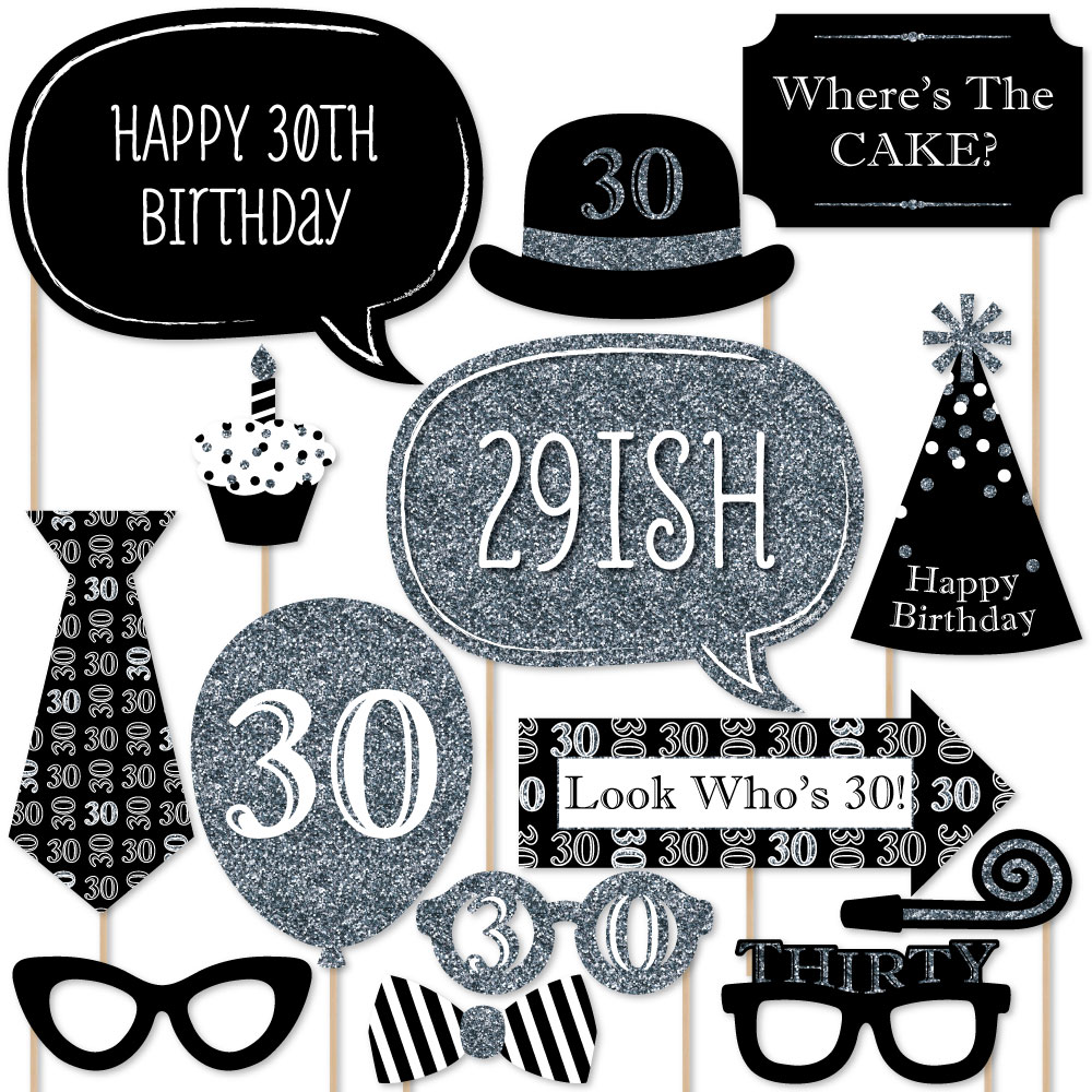 Adult 30th Birthday - Silver - Birthday Party Photo Booth Props Kit - 20 Count