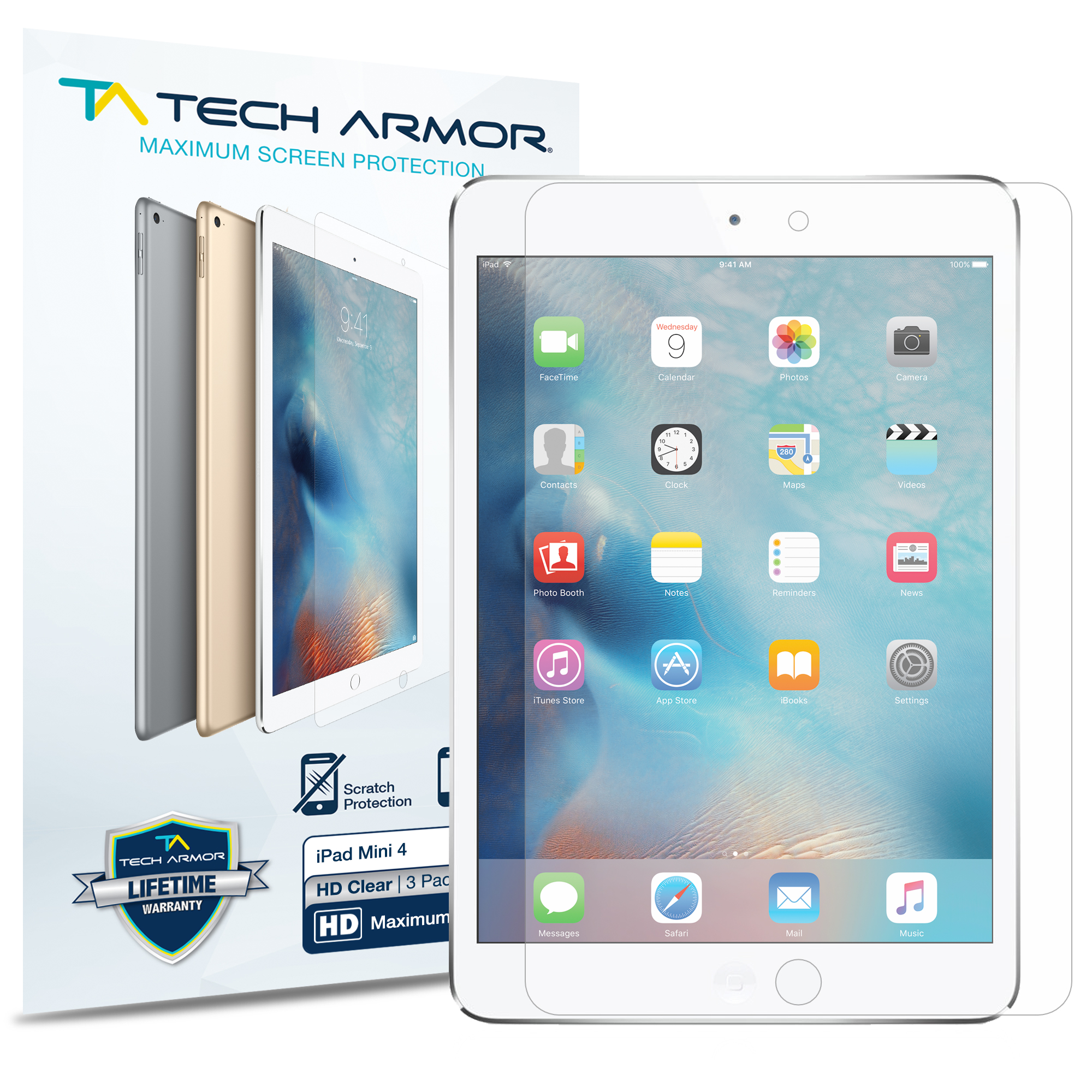 Tech Armor High Definition HD-Clear Film Screen Protector for Apple iPad Mini 4  [3-Pack]