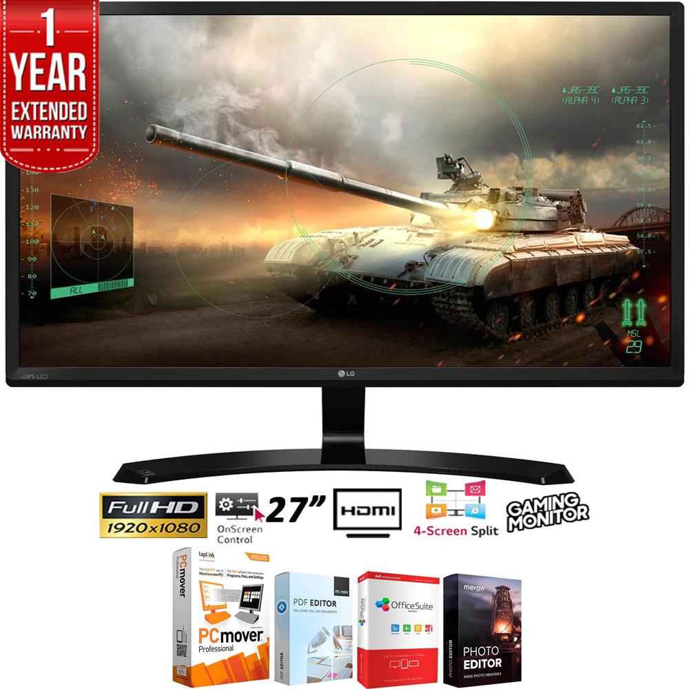 """LG 27"""" Full HD IPS Dual HDMI Gaming Monitor 1920x1080 (27MP59HT-P) + Elite Suite 18 Standard Editing Software Bundle + 1 Year Extended Warranty"""