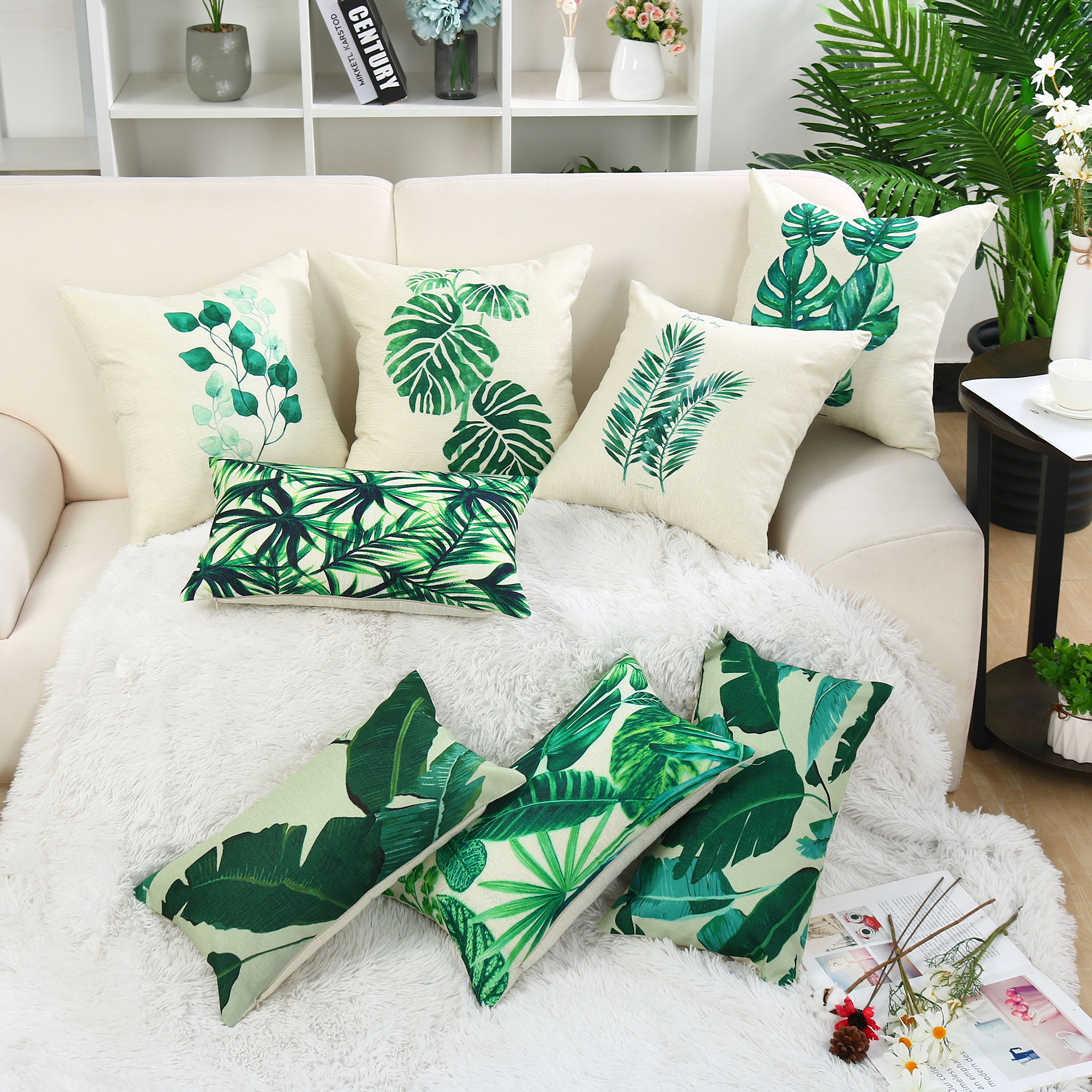 2pcs Green Leaves Throw Pillow Cover Pattern Cushion Cover Cotton Plant Pillow Case Sofa Home Decorative(18 x18 Inch,#2)