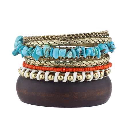 Lux Accessories burnished Gold Tone Boho Wooden Faux Turq Bangle Bracelet Set - Wooden Bangles
