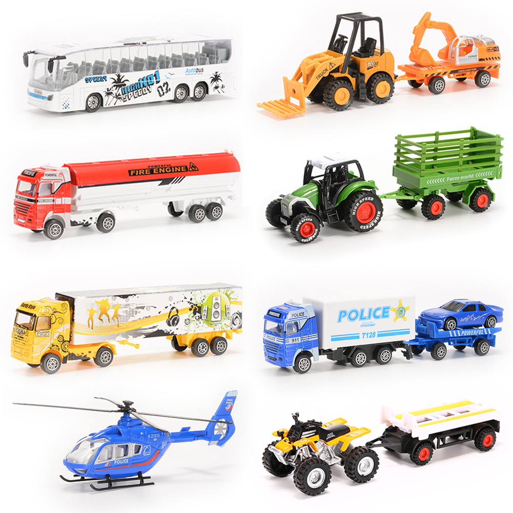 8PCS Diecast Metal City Cars Models Playset Children Toy Play Set Vehicles Set Bus, Truck,... by