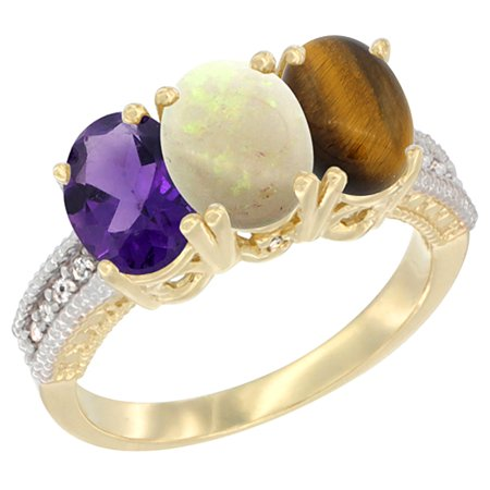 14K Yellow Gold Natural Amethyst, Opal & Tiger Eye Ring 3-Stone 7x5 mm Oval Diamond Accent, sizes 5 - (Amethyst Tiger)