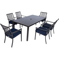 Mod Carter 7-Piece Dining Set with 6 Navy Padded Dining Chairs and 72 in. x 40 in. Slat Table