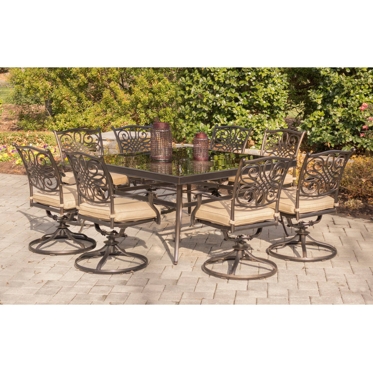 """Hanover Outdoor Traditions 9-Piece Dining Set with 60"""" Square Glass-Top Table and 8 Swivel Rockers"""