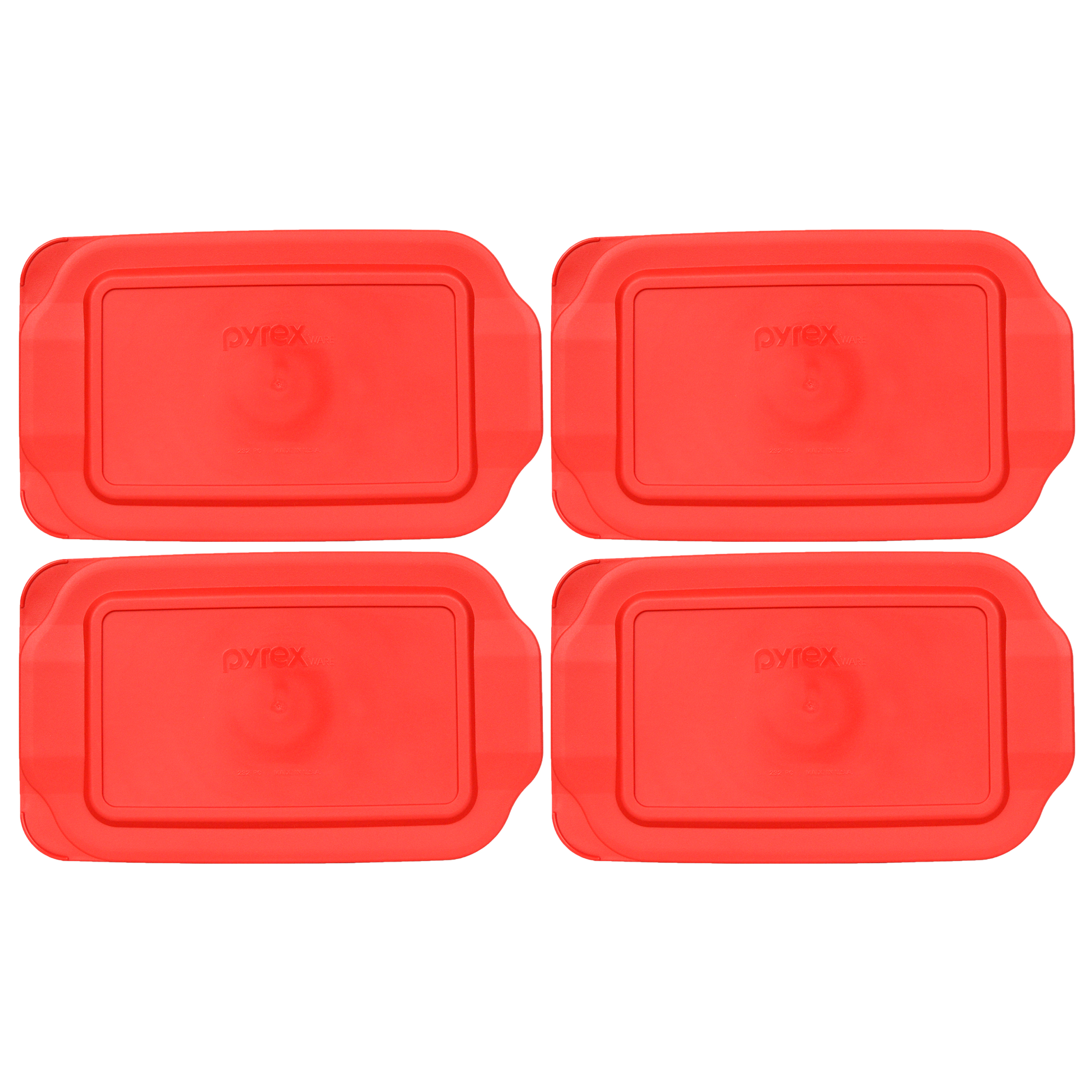 Pyrex Replacement Lid 232-PC 2-Qt Red Plastic Rectangle Cover (4-Pack) for Pyrex 232 Dish (Sold Separately)