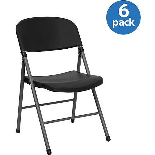 Black Plastic Folding Chair, Set of 6 by Flash Furniture