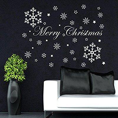 merry christmas wall decals snowflakes holiday decorations vinyl home shop window door art decor removable sticker mr879 (Snowflake Decals)