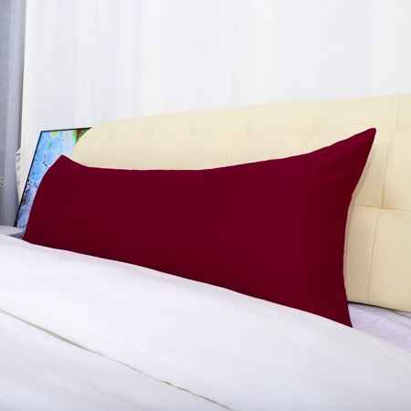 "Unique Bargains 2 Pack Silky Satin Body Pillow Covers Wine Red 20"" x 48"""