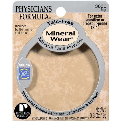 Phyicians Formula Beige Talc-Free Spf 16 W/Built-In Mirror & Brush Mineral Face Powder .3 Oz