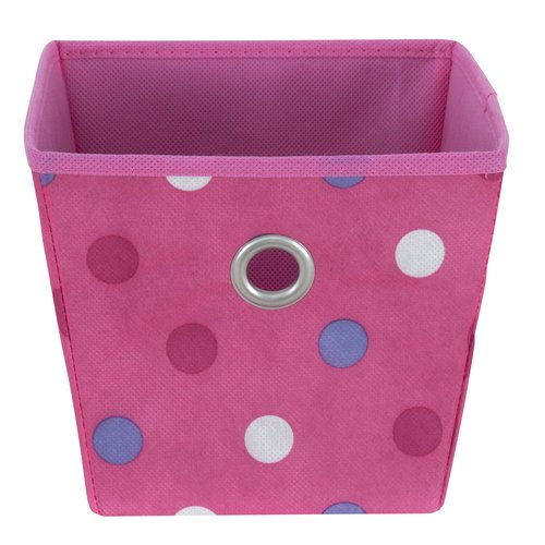 Mainstays Small Non-Woven Bin with Grommet, Pink Dots