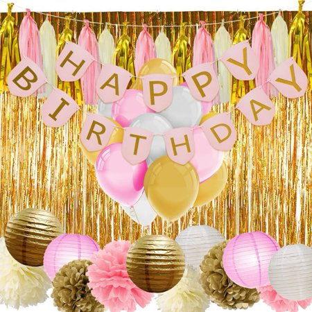 Pink And Gold Birthday Decorations With Banner Balloons Tissue Flowers Paper Lanterns Fringe Curtain For