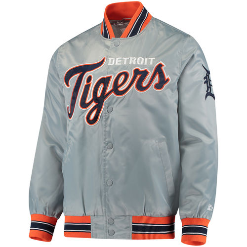 Men's Starter Gray Detroit Tigers Start the Closer Full Snap Jacket by G-III LEATHER FASHIONS INC