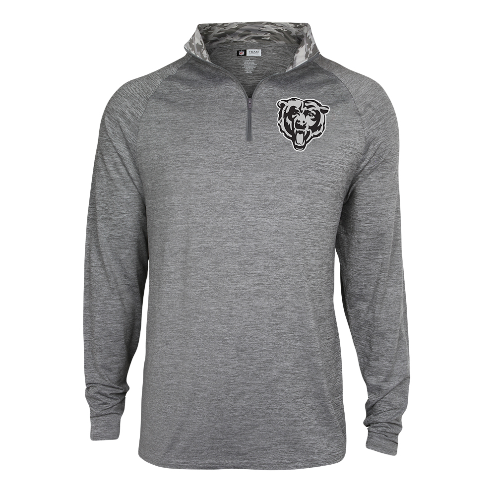 Men's Gray Chicago Bears Space Dye Quarter-Zip Jacket
