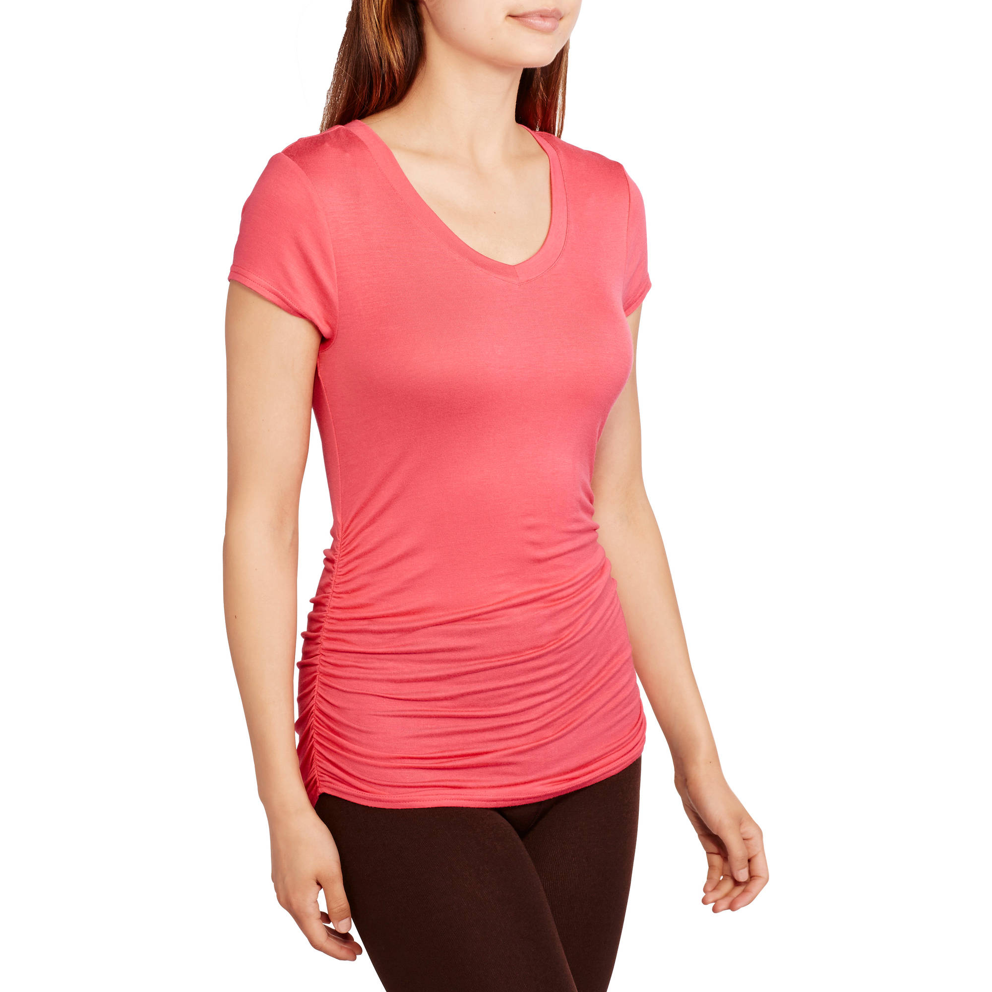 No Boundaries Juniors' Casual V-Neck Tee with Side Ruching
