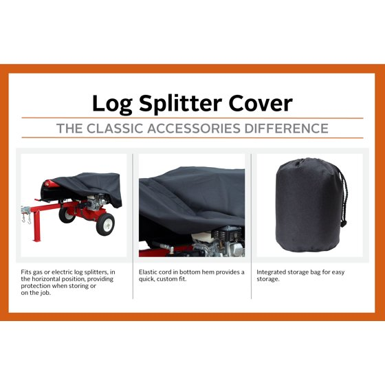 Classic Accessories Firewood Log Splitter Storage Cover, Fits gas or  electric log splitters up to 82