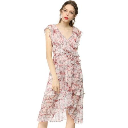 01c1525d197 Unique Bargains - Women s Floral Print Sleeveless Belted Summer Ruffled  Wrap Dress Pink XL (US 18) - Walmart.com