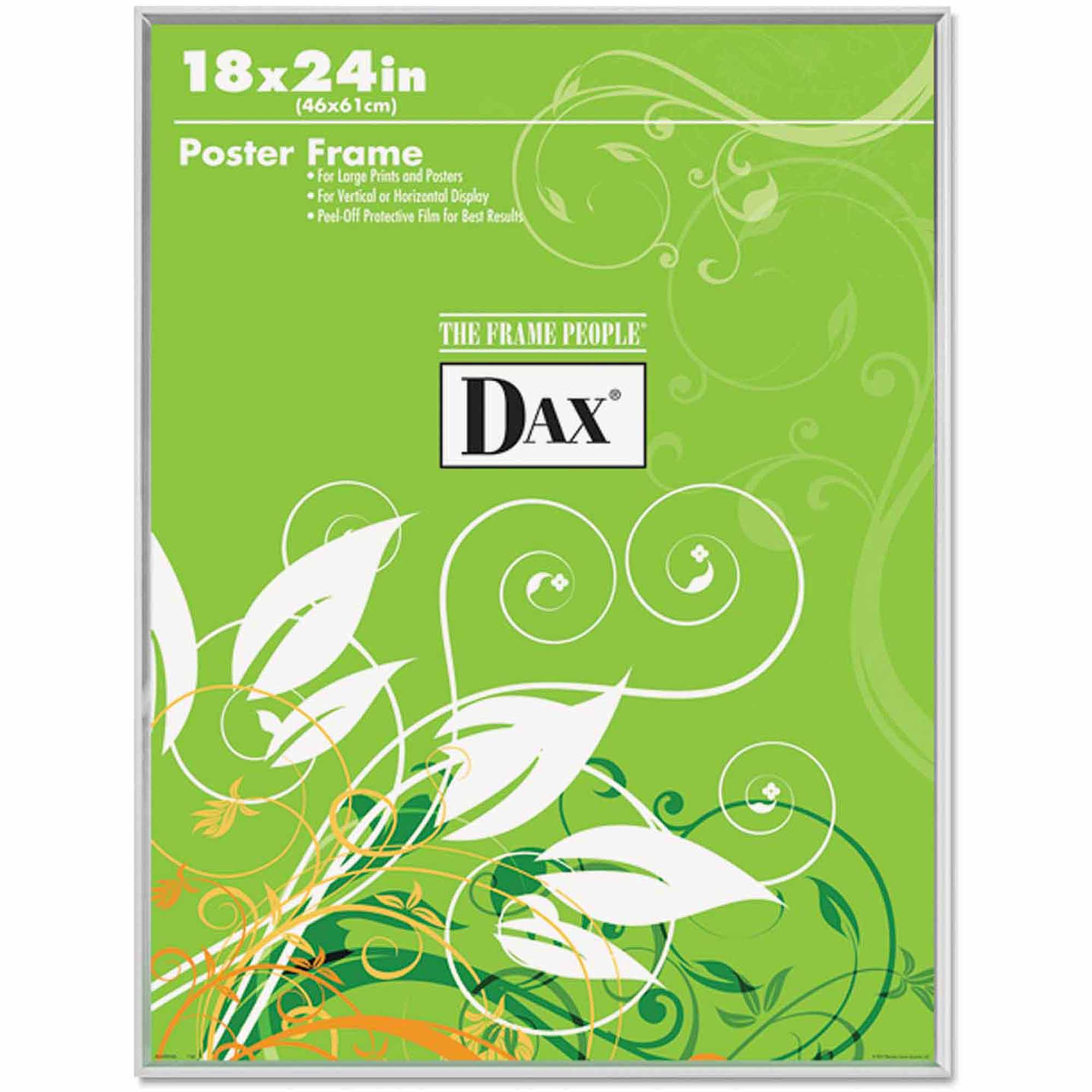 "DAX U-Channel Poster Frame, Contemporary Clear Plastic Window, 18"" x 24"", Clear Border"