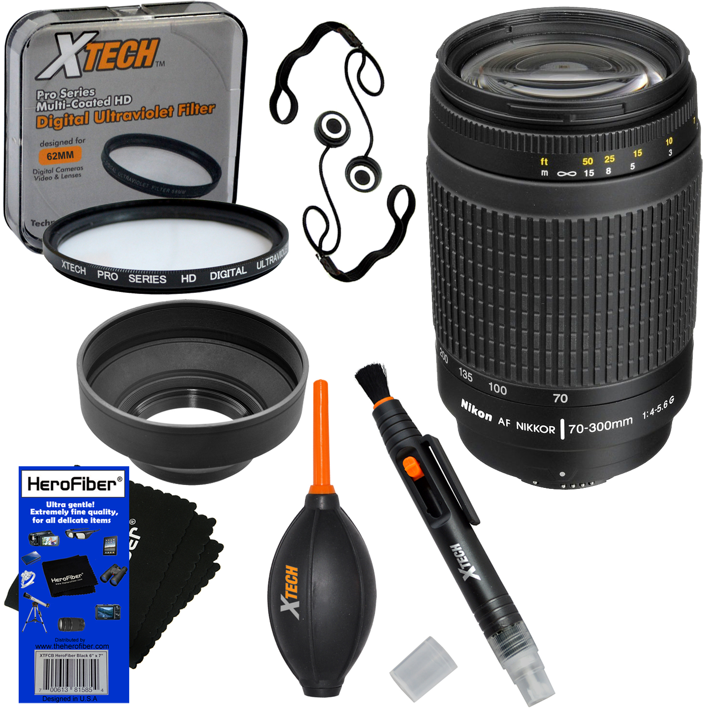 Nikon 70-300mm f/4-5.6G Telephoto Zoom Lens with Auto Focus for Nikon Digital SLR Cameras + 7pc Bundle Accessory Kit w/ HeroFiber Ultra Gentle Cleaning Cloth