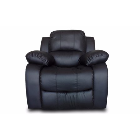 overstuffed single seat bonded leather recliner chair