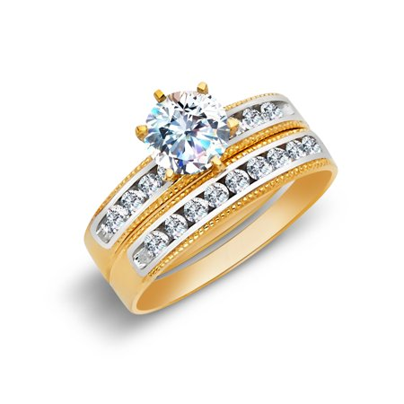 14K Two Tone Solid Gold Cubic Zirconia CZ Wedding Engagement Ring Set - size 4.5 ()