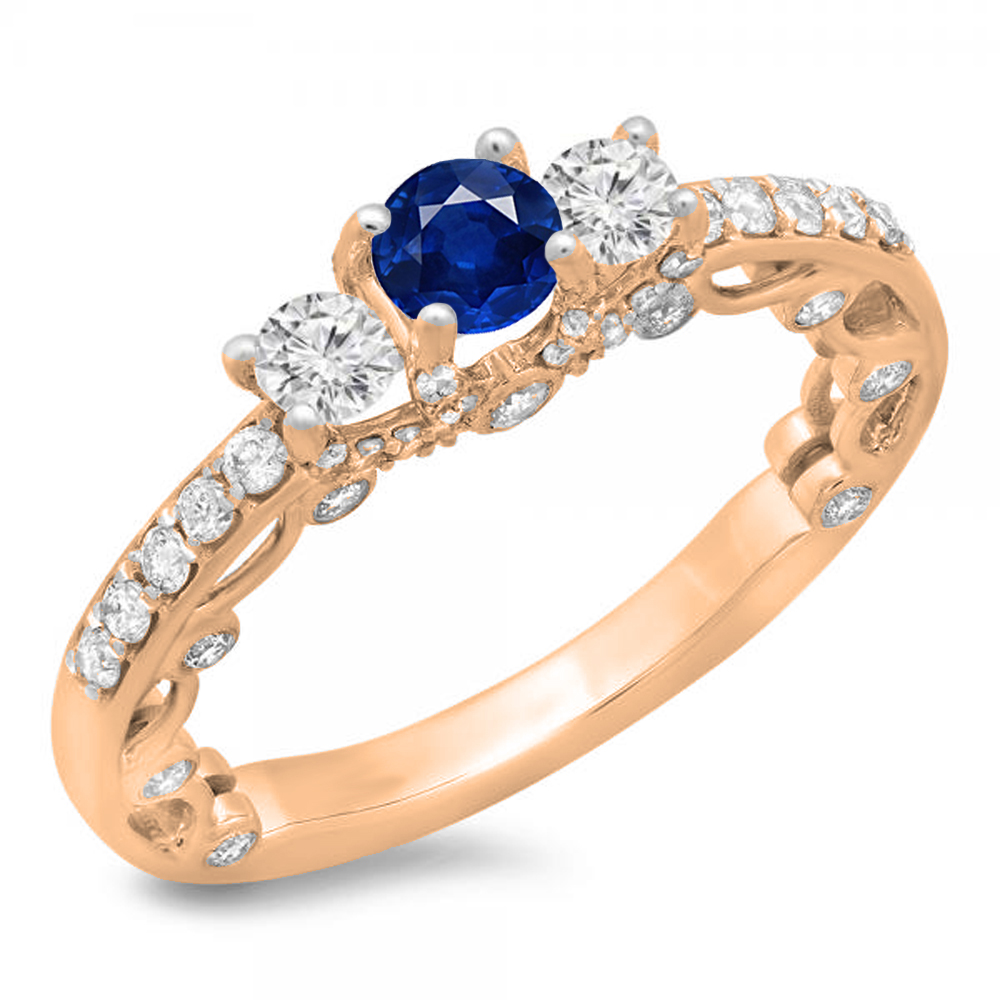 1.15 Carat (ctw) 18K Rose Gold Round Cut Blue Sapphire & White Diamond Ladies Bridal Vintage 3 Stone Engagement Ring