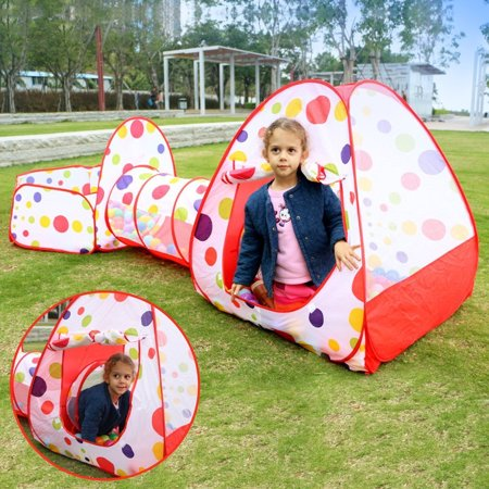 reputable site c910c b3372 3 in 1 Kids Play Tent Tunnel Set,Crawl Tunnel and Ball Pit with Basketball  Hoop Playhouse Pool Pop Up Kids Indoor Outdoor Toys