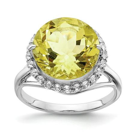 Roy Rose Jewelry Sterling Silver White Topaz and Lemon Quartz Ring
