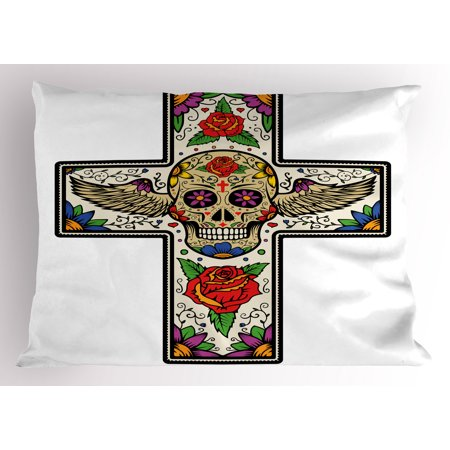 Sugar Skull Pillow Sham Colorful Cross with Winged Sugar Skull Roses and Floral Swirls Religious Art, Decorative Standard Size Printed Pillowcase, 26 X 20 Inches, Multicolor, by Ambesonne (Colorful Sugar Skull)